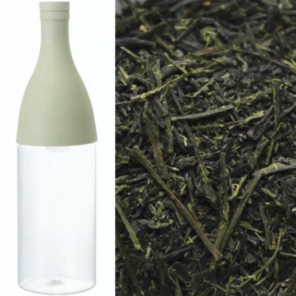 Japansk mizudashi cold brew glasflaske med integreret filter produceret i Japan af Hario inkl. 50g Chiran Sencha Shincha - japansk økologisk grøn te fra forårshøsten 2021 af Chiran Nōen